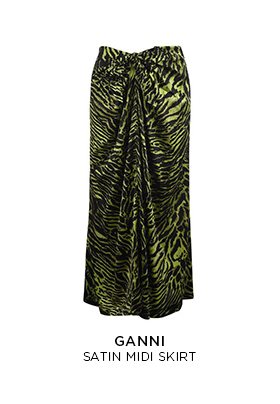 Ganni satin midi skirt in a green and black tiger print