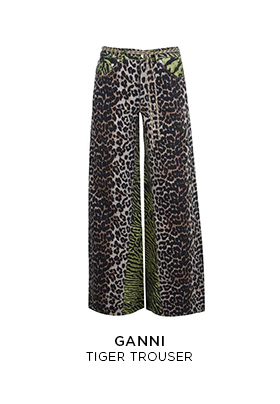 Ganni tiger print wide leg trousers