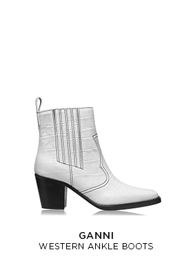 Ganni white leather Western cowboy ankle boots