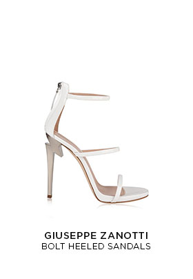 Giuseppe Zanotti bolt heeled white strappy sandals