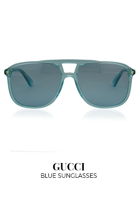 Blue Gucci square aviator sunglasses