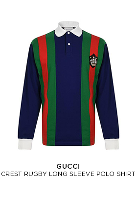 Gucci crest rugby long sleeved polo shirt
