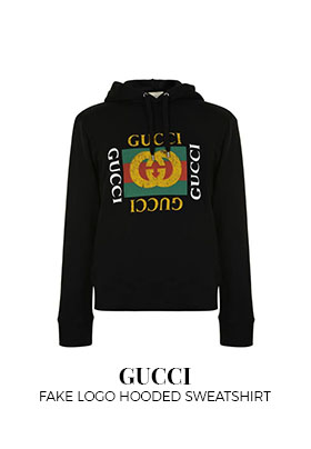 Gucci fake logo hooded sweatshirt
