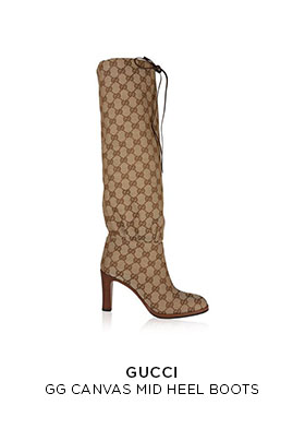 Gucci GG canvas mid heel beige boots