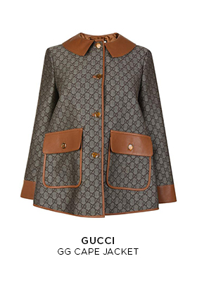 Gucci GG cape jacket brown and beige