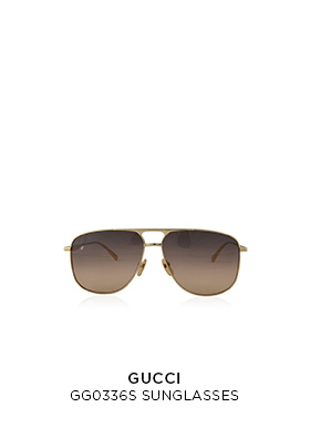 Gucci GG0336s gold framed square metal sunglasses