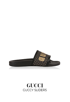 Gucci Guccy black and gold slider