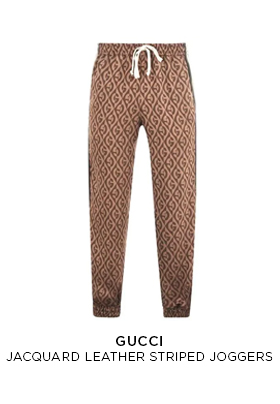 Gucci jacquard leather striped joggers