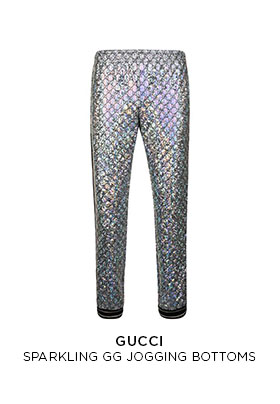 Gucci laminated sparkling GG jogging bottoms