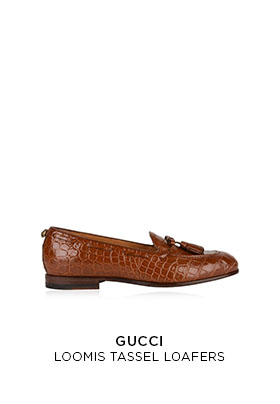 Gucci loomis tassel brown leather mock crock loafers