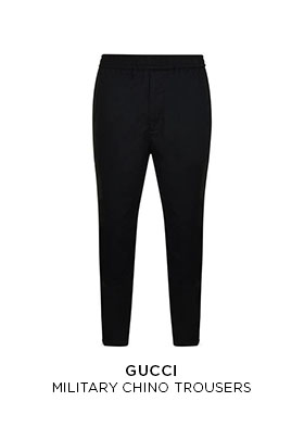 Black Gucci military chino trousers