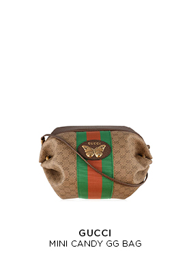 A brown GG monogram canvas mini Gucci candy barrel bag with a red and green Gucci web and metal butterfly motif