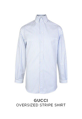 Gucci oversized white and blie striped shirt