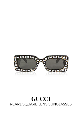 Gucci square skinny lens sunglasses with pearls