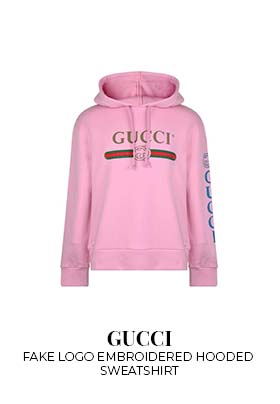 Gucci fake logo embroidered hooded sweatshirt
