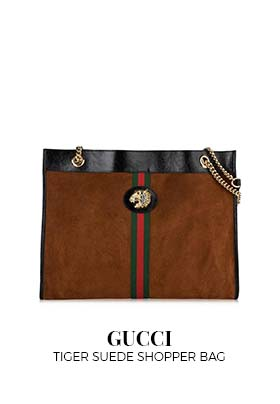 Gucci Tiger Suede Shopper Bag