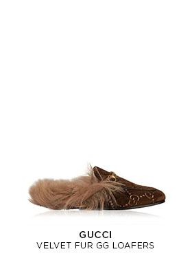 Gucci Velvet fur GG brown loafers