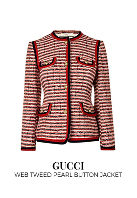 Gucci web tweed pearl button jacket