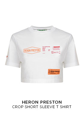 Heron Preston white cropped short sleeve T-shirt with ornage and black graphic