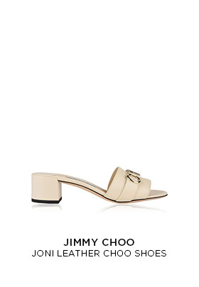 Jimmy Choo Joni leather Choo cream leather sliders with a block heel