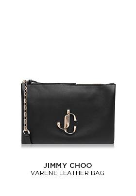 A Jimmy Choo Verene black leather bag with a gold metal JC logo