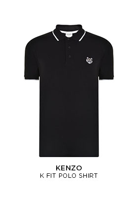 Kenzo K fit polo shirt with white emrboidered tiger on the chest