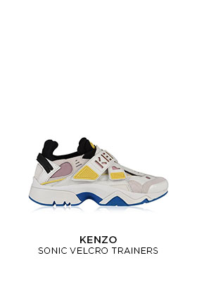 Kenzo Sonic velcro trainers in white with pink and yellow panels, a Kenzo logo on the velcro strap and blue rubber sole inserts