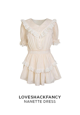 LoveShackFancy Nanette pale pink mini dress