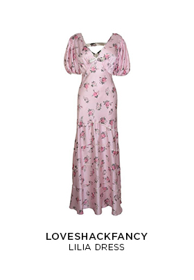 LoveShackFancy Lilia pink silk maxi dress