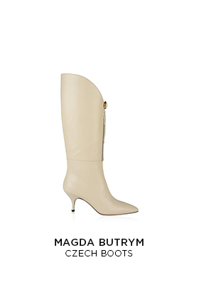 Magda Butrym cream leather knee high heeled Czech boots