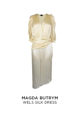 Magda Butrym cream silk Wels dress with a fringe skirt
