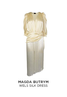 A cream Magda Butrym Wels silk dress with a drop waist and fringe skirt