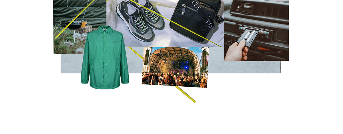A collage of festival images including a stage, a tent and images of a Valentino coach jacket and Lanvin trainers