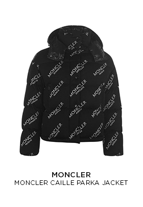 Moncler Caille down puffer jacket with all-over Moncler logo print in black and white