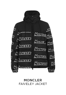 Black Moncler faiveley puffer jacket with all-over Moncler logo