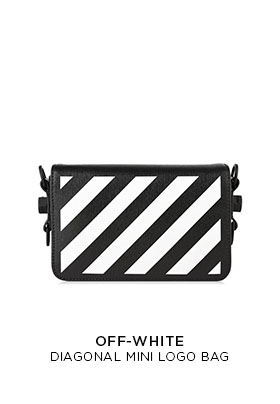 Off-White diagonal black and white stripe mini logo bag with industrial shoulder strap