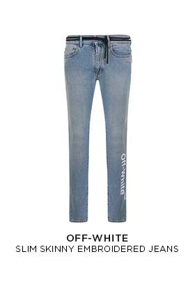 Off-White slim skinny embroidered jeans