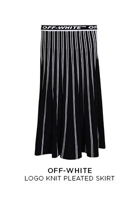 Off-White logo knit pleated skirt in black and white