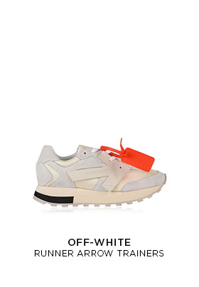 Off-White runner arrow trainers in pale blue suede and white with a chunky sole and bright orange Off-White tag