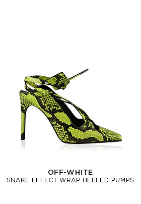 Off White snake effect black and flouro yellow ankle wrap heeled pumps