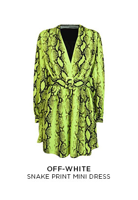 Off-White snake print black and flourescent yellow mini dress