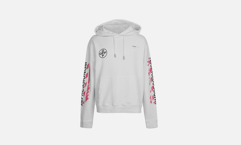 White and pink Off-White stencil hooded sweatshirt