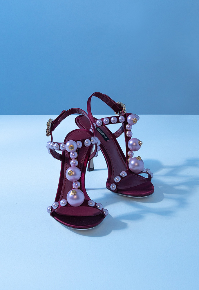 Photograph of Dolce and Gabbana pearl embellished sandals