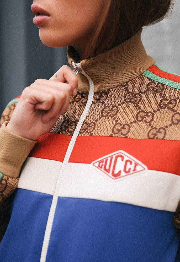 Model wearing Gucci Zip Tech Jacket