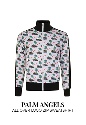 Palm Angels all over logo zip sweatshirt