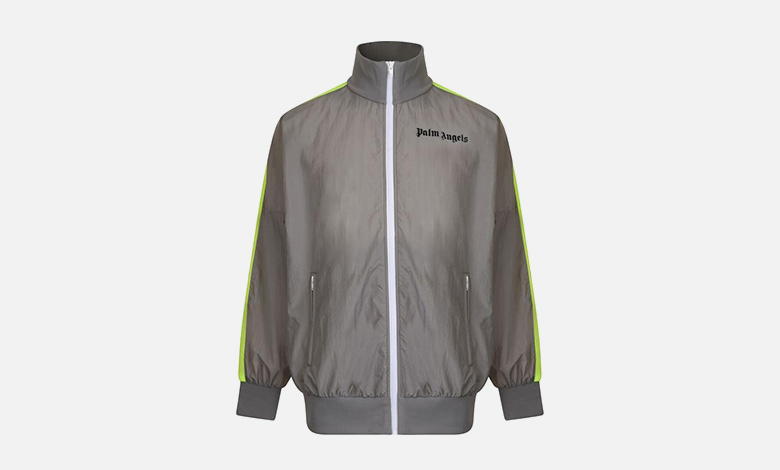 Grey Palm Angels track suit jacket with green neon tape