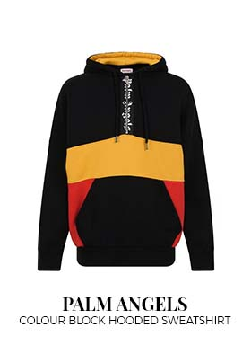 Palm Angels Logo Colour Block Hooded Sweatshirt