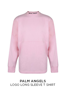 Palm Angels pale pink logo long sleeved T-shirt