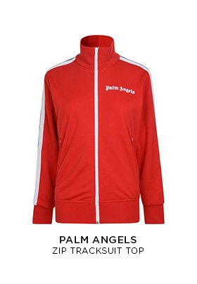 Palm Angels red zip up tracksuit top