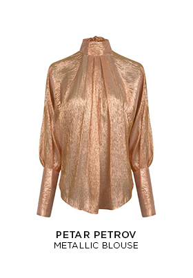 A bronze metallic high neck blouse with blouson sleeves shot through with shining thread by Petar Petrov